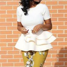 Falbala Blouse Tops Women White Irregual Hem Shirts 2019 Short Sleeve Plain Elegant Office Lady High Waist Shirts Blouse Female plain lace patchwork falbala blouse