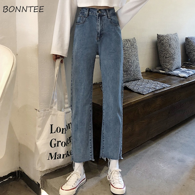 Jeans Women Vintage High Waist Straight Simple Students BF Ankle-length Harajuku Womens Trousers All-match Fashion Ulzzang Chic