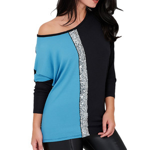Image 3 - Fashion Sequined Blouses 2019 Women Casual Shirts O neck Long Sleeve Patchwork Loose Tee Tops and Blouses Spring Autumn Clothing