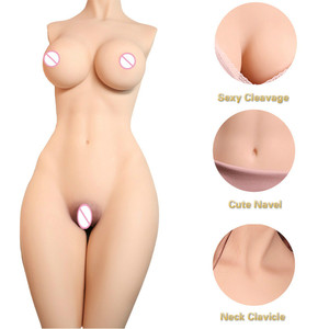 Half body silicone sex love dolls Real Vagina and Anal Sex Toys for Men Masturbator Realistic Pussy Double Channels Sexdoll
