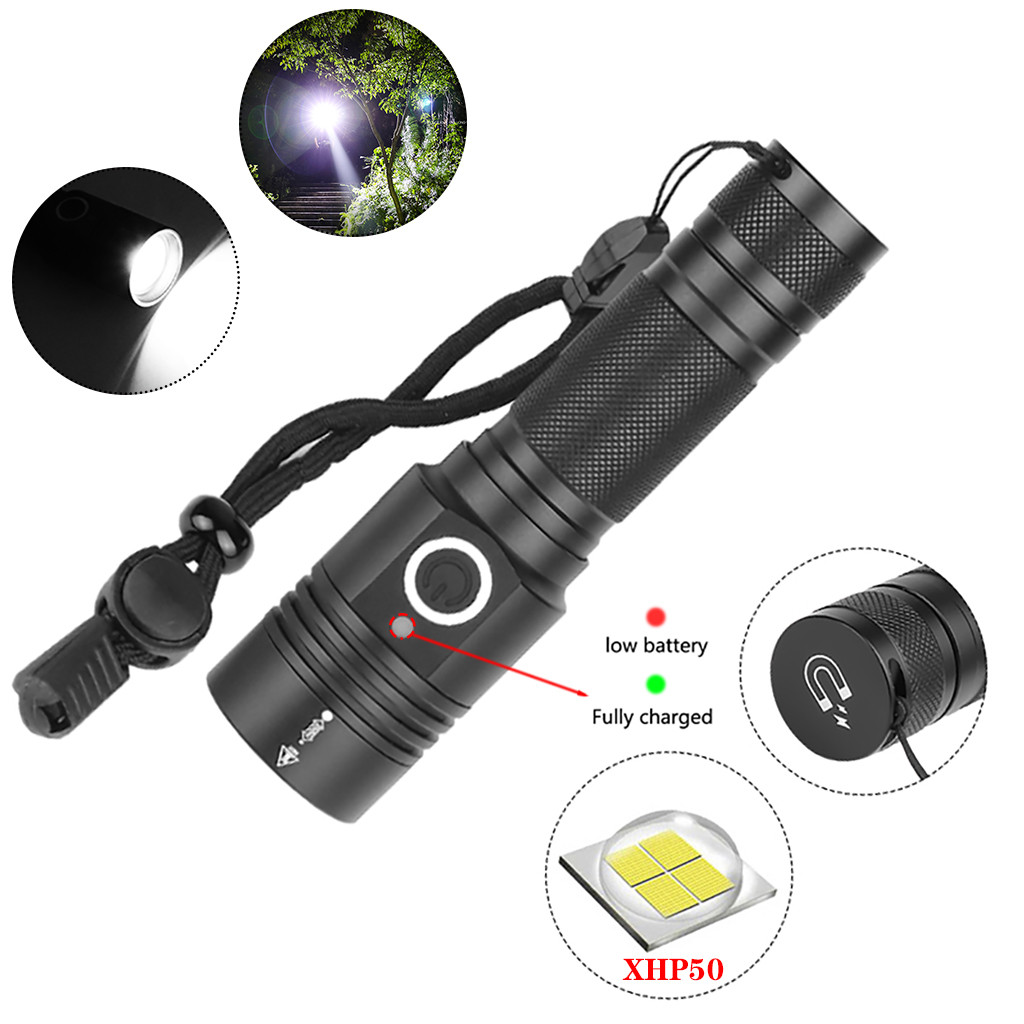 Aluminum Alloy XHP50 LED Flashlight 4 Modes Outdoor Torch Charge display Taschenlampe Jagdlampe Camping Lampe 1x18650 Battery-in LED Flashlights from Lights & Lighting