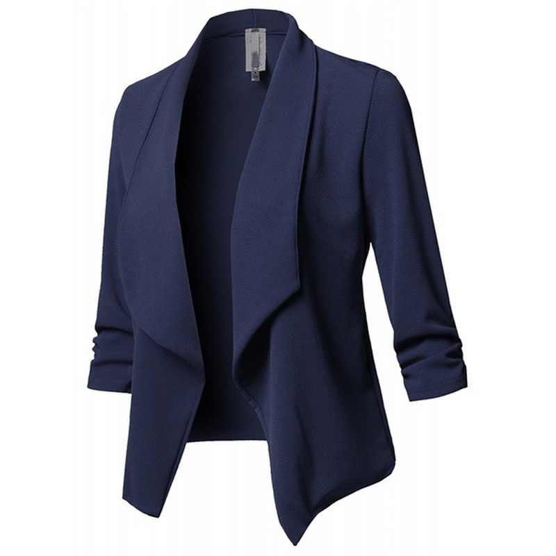 Wanita Hitam Blazer Cardigan Mantel 2019 Lengan Panjang Wanita Blazer dan Jaket Ruched Asimetris Kasual Bisnis Suit Lebih Tahan Dr