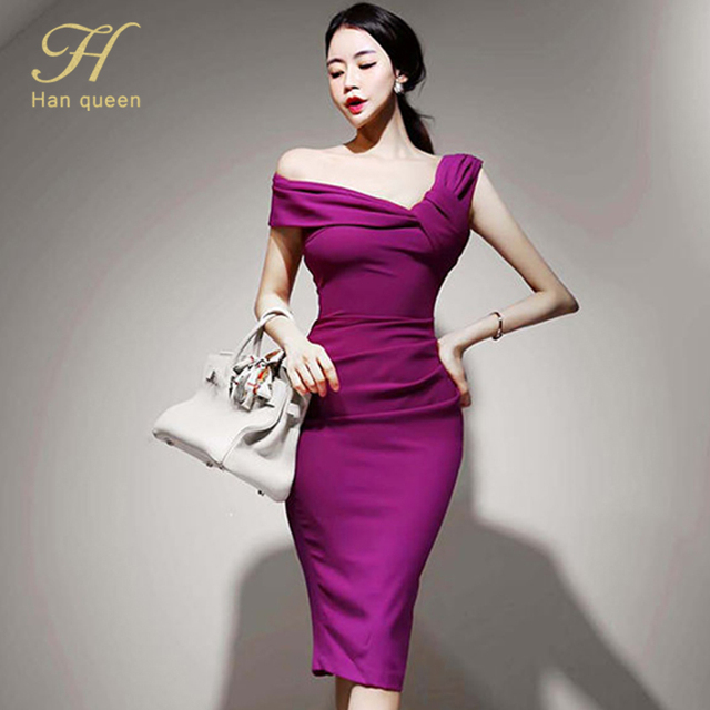 H Han Queen Elegant Slash neck Pencil Dress Women Spring Autumn High Waist Sheath Dresses Korean Slim Chic Party Bodycon Vestido 1