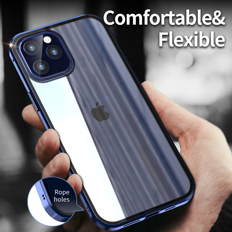 Anti Spy 360 Privacy Metal Magnetic Tempered Glass Phone Case For iPhone 12