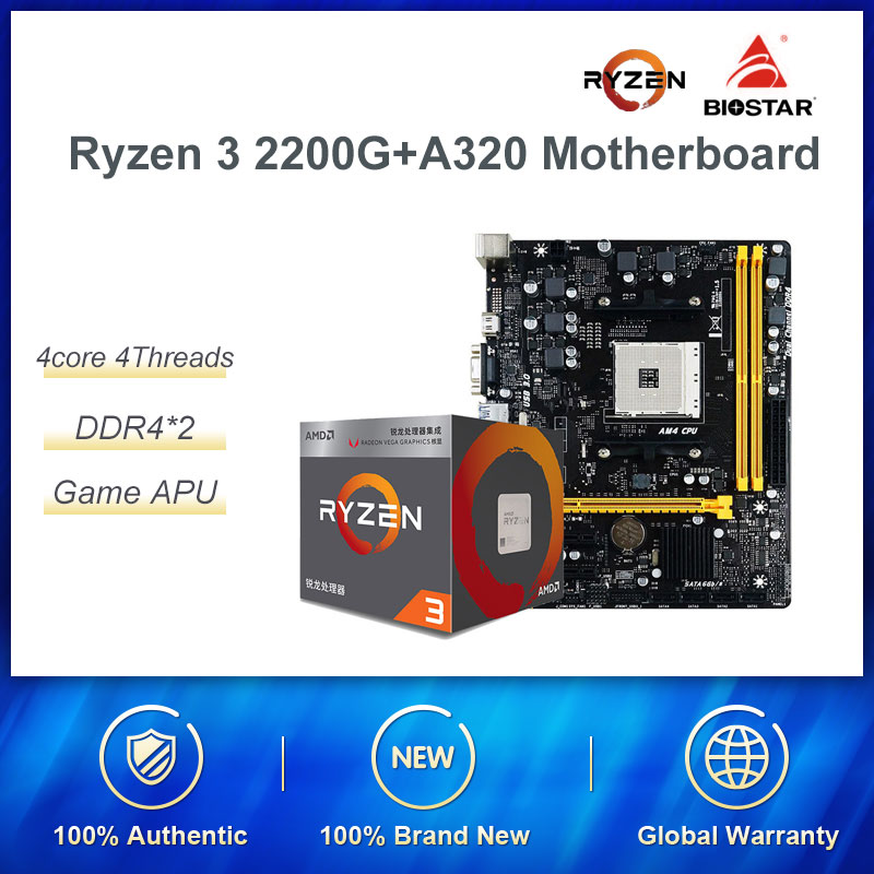 AMD Ryzen 3 2200G With Biostar A320 Motherboard CPU Comes With Set New Second-Generation Integrated Card  Office Devices