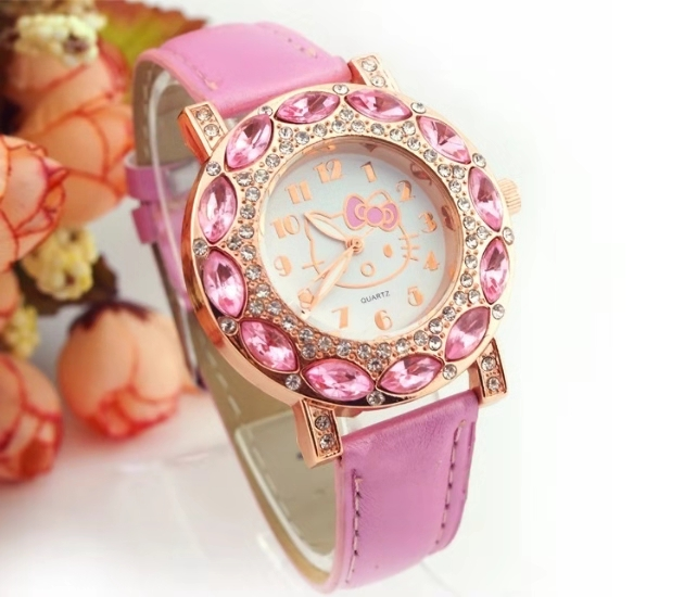 Children's Watches Fashion Belt Set Diamond Anglo-female Student Watches Cartoon Individual Women's KT Watches