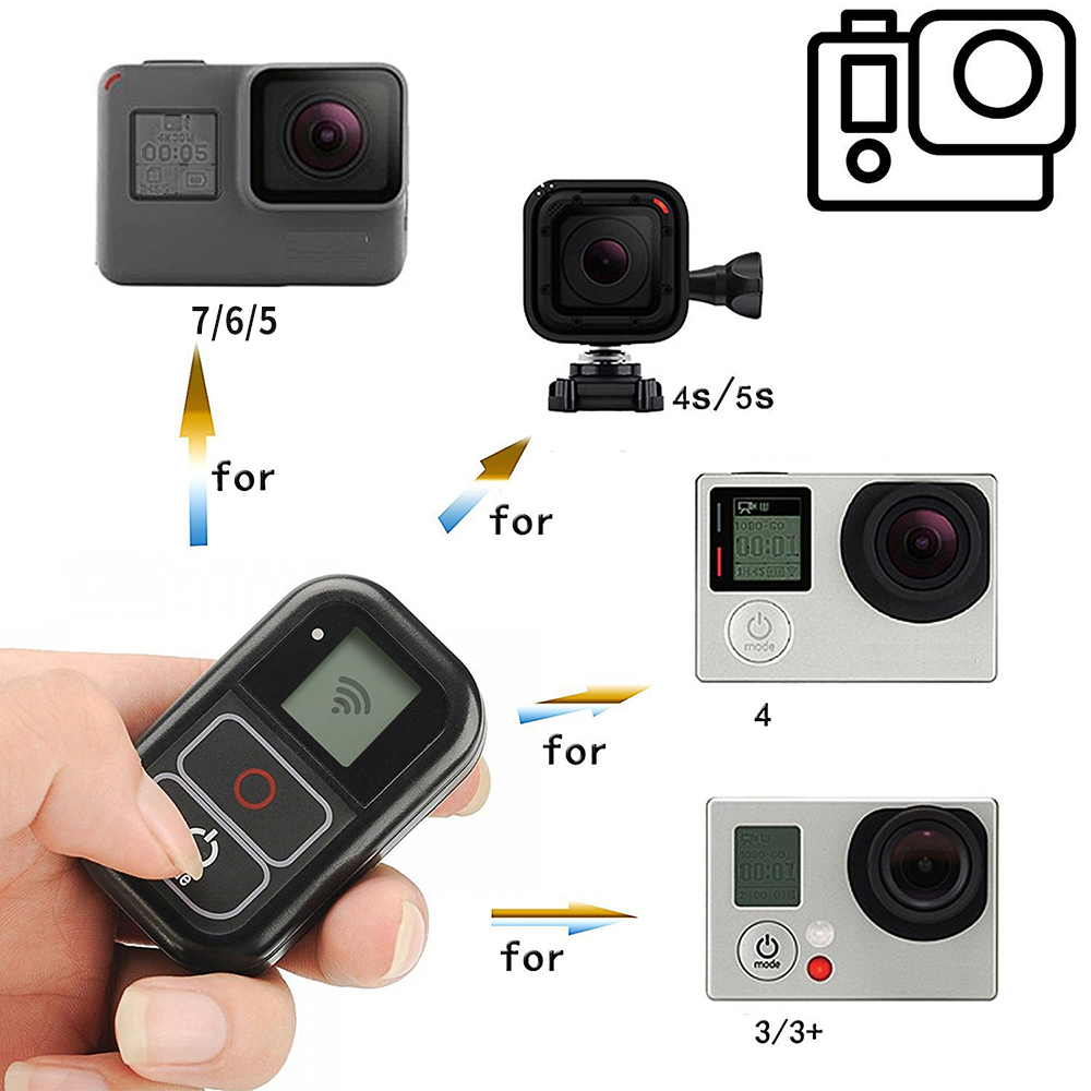 SHOOT para GoPro 8 WiFi Control remoto con Cable cargador correa de muñeca a prueba de agua remoto para GoPro Hero 7 6 5 negro 4 3 accesorio - 5