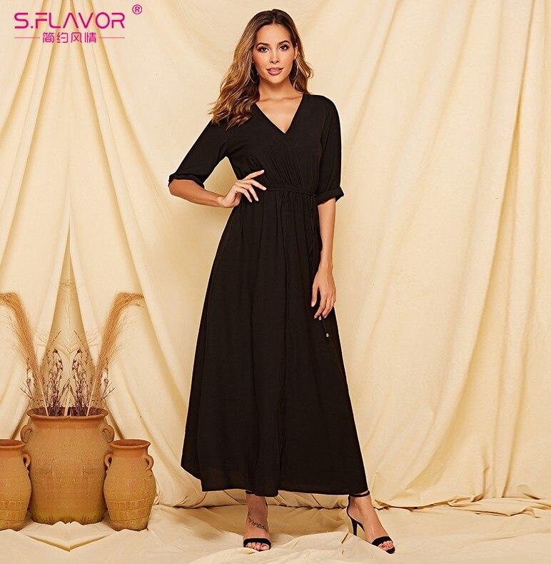 S.FLAVOR Black Women Long Dress 2019 Autumn Winter Half Sleeve V-neck Secy Vestidos For Female  Sexy Bohemian Maxi Dress