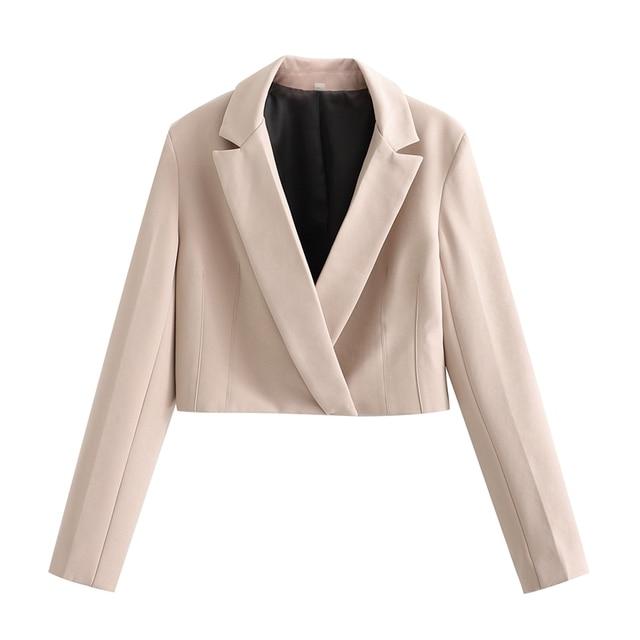 Spring New Women's Solid Short Suit Coat Solid Lapel Concealed Button Design Slim Split Mini Skirt Solid Color Suit 5