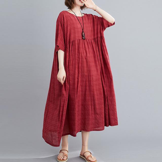 Plus Size Plaid Casual Cotton Summer Dress Women Oversized Vintage 4XL 5XL 6XL Ladies Dresses Robe Femme Beach Woman Dress 2021 7