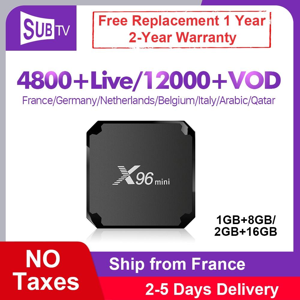 X96 mini 4K IPTV France abonnement Box 1 an SUBTV IPTV Android 7.1 S905W 1G 8G arabe France italie UK Portugal allemand IP TV