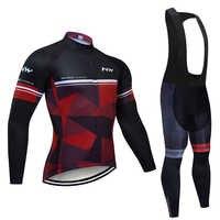 2019 NW equipo de Ciclismo JERSEY 20D pantalones de bicicleta conjunto Ropa de Maillot para hombre Invierno Polar térmico pro Ciclismo jersey