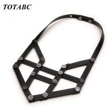 Fashion  Black Genuine Leather Necklace Vintage Statement Necklaces & Pendants Women Men Gift Adjustable And Dres Jewelry game the legend of zelda cosplay accessories necklace pendants weapons vintage pendants for women man xmas gift
