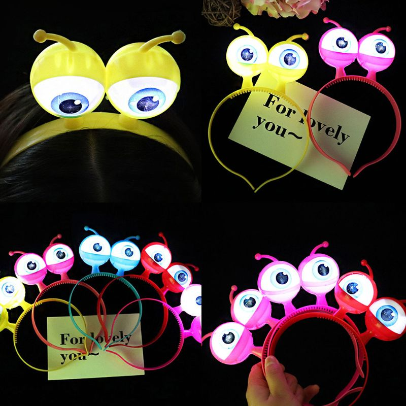 Flash Big Eyeball Headband Party Prom Halloween Headdress Props Shine Eyes Kids Toys Hair Band E65D
