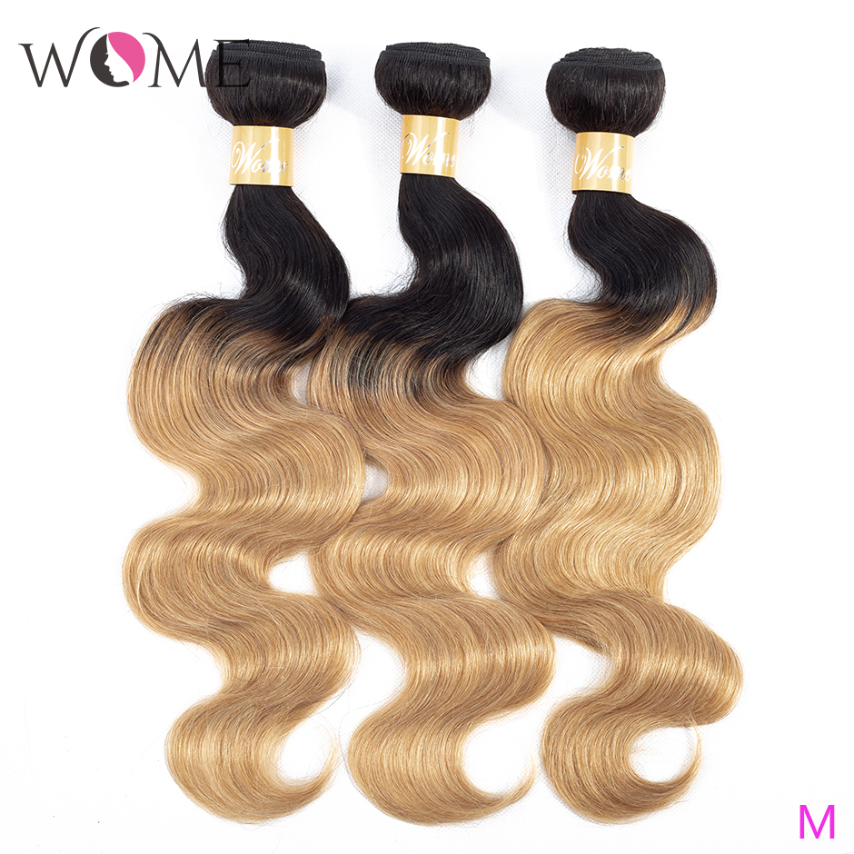 Ombre Human Hair Bundles Brazilian Body Wave Black And Blonde Bundles Pre-colored 1b/27 &1b/30 Non-remy 100% Human Hair Weave