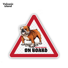 цены HotMeiNiEnglish Bull Dog Car Stickers Dog on board Decals Pet Dog in a car Decal Dog Warning Sign 12cm x 10.5cm