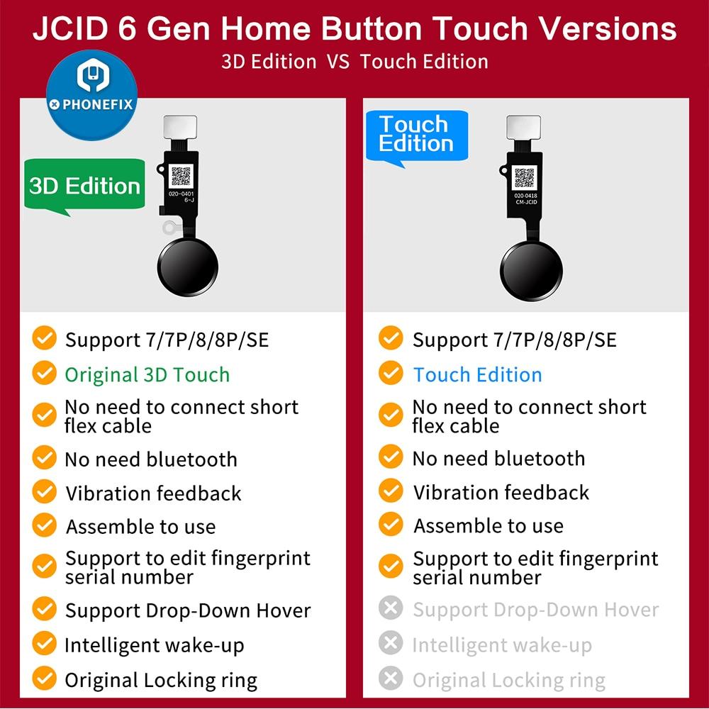JC 6 Gen ثلاثية الأبعاد الرئيسية زر فليكس كابل آيفون 7 7P 8 8P القائمة لوحة المفاتيح الرئيسية العودة زر العالمي بصمة فليكس كابل إصلاح