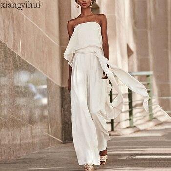 Комбинезон женский с оборками, пикантный вечерний Ромпер без бретелек, модные брюки с завышенной талией и широкими штанинами, белый, лето 2020
