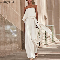 White Women Summer Ruffle Sexy Strapless Party Rompers Jumpsuit Female Fashion High Waist Wide Leg Pants Women's Jumpsuits 2020