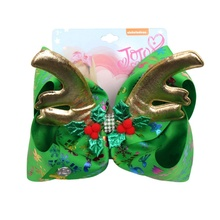 New 7 JOJO Bows Large Hair for Girls Deer Horn Clips Christmas Printed Hairgrips Party Kids Accessories