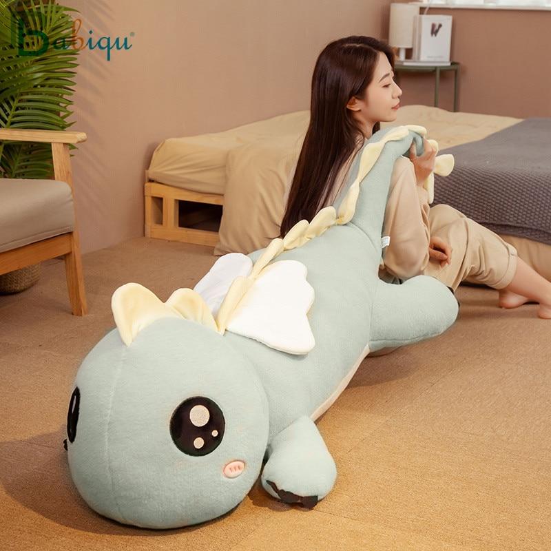 Novo huggable enorme longo bonito dinossauro brinquedo de pelúcia macio dos desenhos animados animal anjo dragão recheado boneca namorado travesseiro crianças presente aniversário