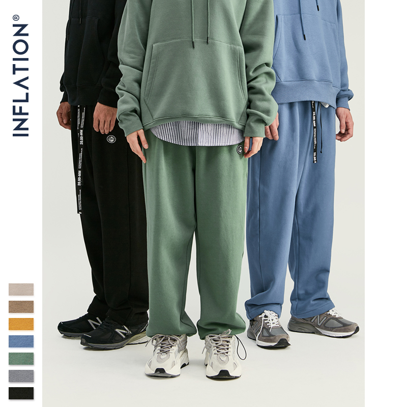 Image 4 - INFLATION DESIGN Super Loose Fit Men Sweatpants In Pure Color Loose Fit Retro Style Mens Sweatpants Street Wear Men Pants 93402W-in Casual Pants from Men's Clothing