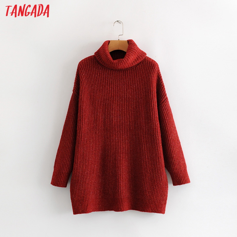 Tangada women jumpers turtleneck sweaters oversize winter fashion 19 long sweater coat batwing sleeve christmas sweate HY135 12
