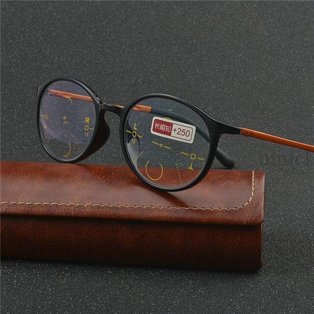 Thời Trang Nam Nữ Vòng Khung Tiến Bộ Multifocal Ống Kính Retro Mặt Trời Photochromic Mắt Ngoài Trời Kính Mát UV400 NX