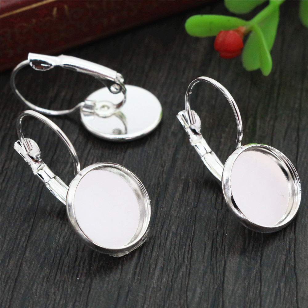 12mm 10pcs Light Silver Plated French Lever Back Earrings Blank/Base,Fit 12mm Glass Cabochons,Buttons;Earring Bezels (L3-14)