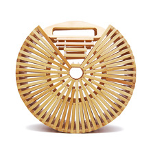 Women New Bamboo Bag Round Hollow Out Handbags Summer Beach Woven Straw Bags Travel Handmade Ladies Luxury Bohemian Tote Bags dusun summer hand woven straw bag ribbons bamboo package weaving bohemian holiday beach bag bow hollow female causal box totes