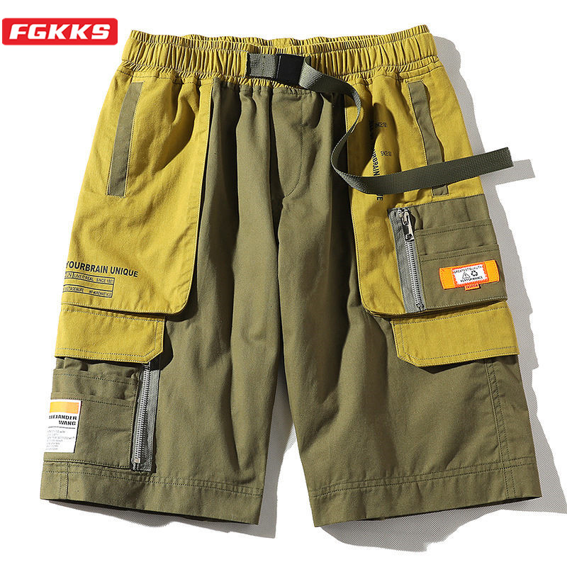 FGKKS Casual Brand Men Pocket Cargo Shorts Men's High Street Wild Shorts Summer New Patchwork Straight Shorts Male