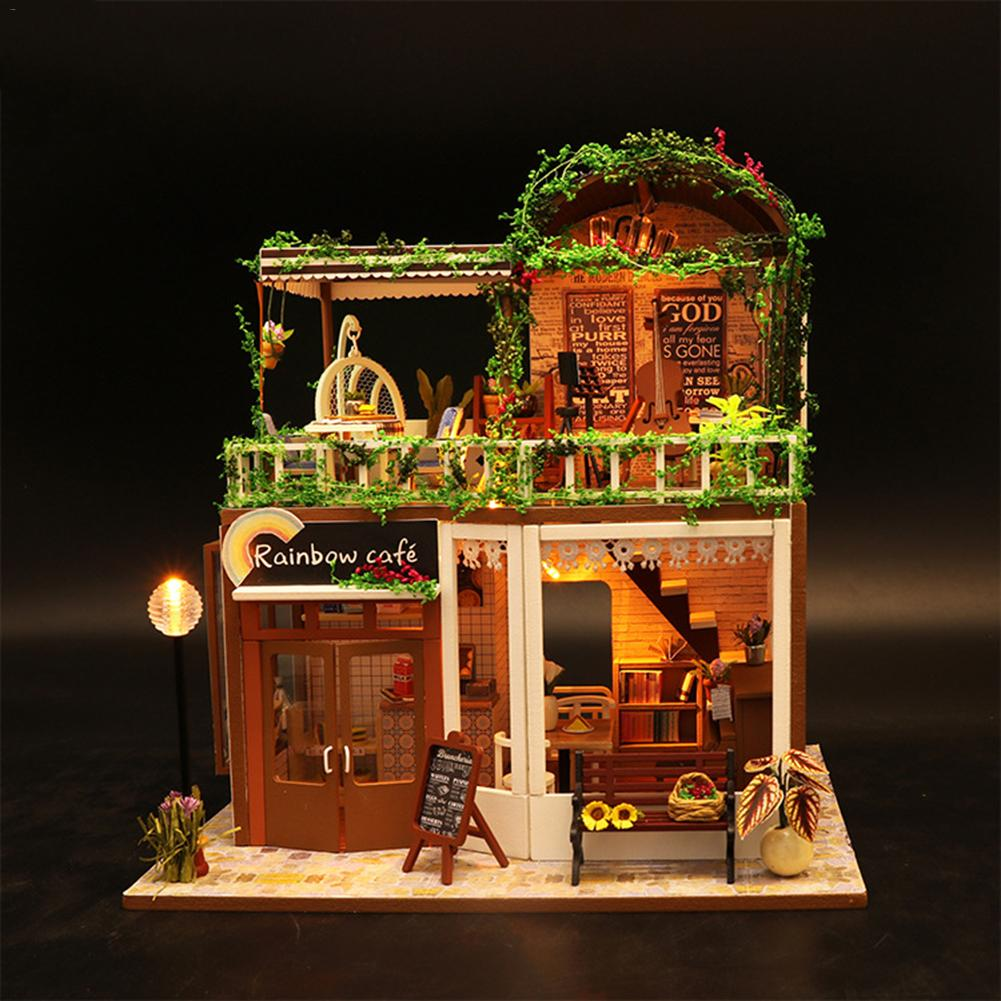 DIY Coffee House Dollhouse Mini Assembly Model Toys Puzzle Miniatures Building Household For Children Adults