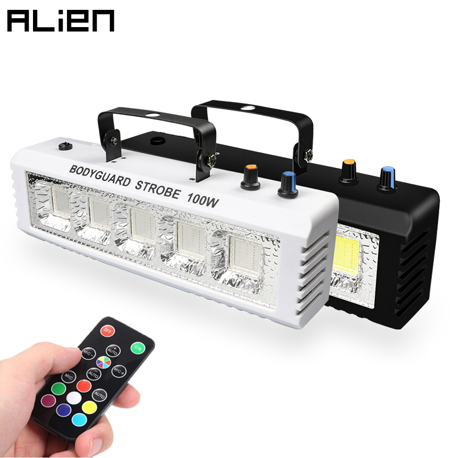 ALIEN RGB White DJ Disco Strobe Lights 40W 60W 80W 100W Remote Control Sound Flash Party Wedding Holiday Stage Lighting Effect