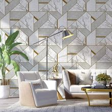 Nordic 3D Marble Wallpapers Home Decor Grey Geometric Wall paper Rolls for Background Decorative Bedroom Living Room