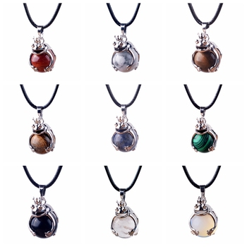 SEVENSTONE Women Copper Elegant Frog Pendant 16MM Natural Stone Balls Sphere Crystal Pendants Chakra Necklace Jewelry image
