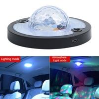 Interior do carro luz de leitura teto ímã lâmpada do teto controle voz ritmo atmosfera luz led disco magia luzes efeito palco