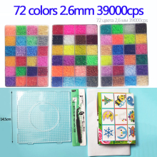 Mini 2.6 Hama Beads 72 Colors kits perler Beads Tool and template Education Toy Fuse Bead Jigsaw Puzzle 3D For Children