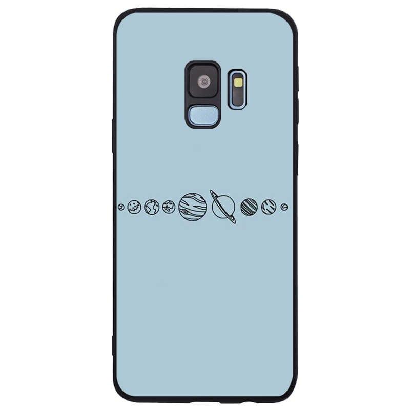 Xanh Dương Tối Giản Bao Da Silicone Mềm TPU Đen Ốp Lưng Điện Thoại Samsung Galaxy S6 S7 Edge S8 S9 S10 Plus Note 8 9