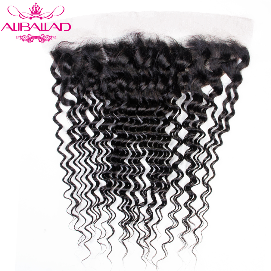 13x4 Deep Wave Lace Frontal Closure Pre Plucked Brazilian Remy Human Hair Closure Ear To Ear Swiss Lace Aliballad Hair Weave