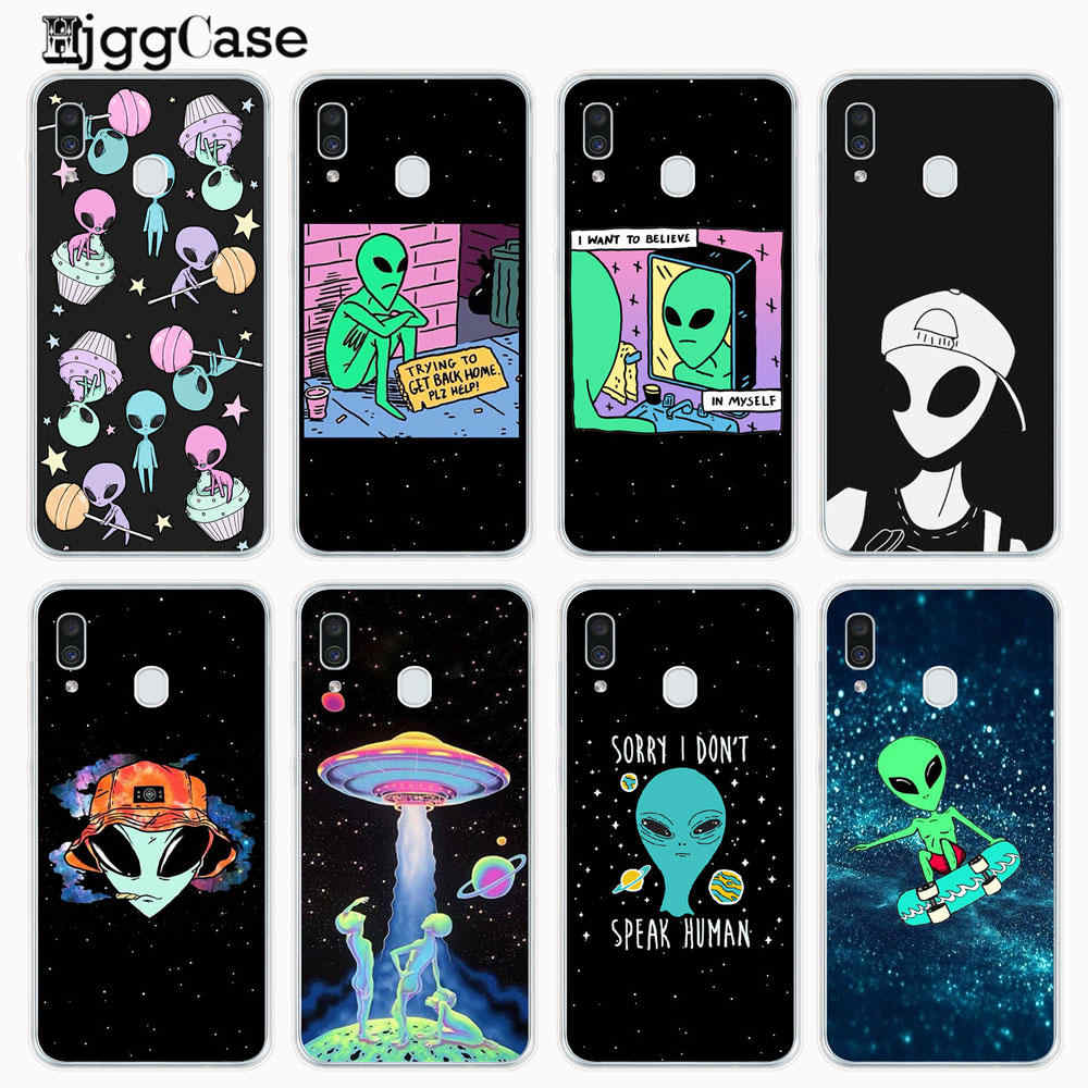 Aesthetics Cute Cartoon alien space Soft Silicone Phone Case For Samsung A10 A20 A30 A40 A50 A60 A70 A80 A7 A9 A6 A8 2018 Cover