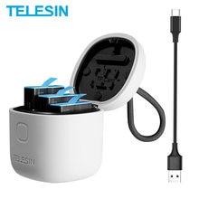 TELESIN 3Pack Battery For GoPro 9 8 7 Black 3 Slots LED Light Charger Box TF Card Reader Storage For GoPro Hero 5 6 7 8 9 Black