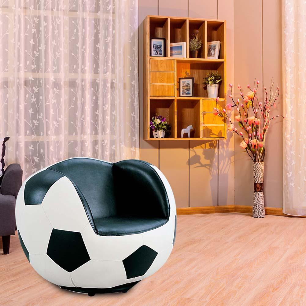Country Creative Football Chair And Foot Pad - White/ Black USA Warehouse Fast Shipping