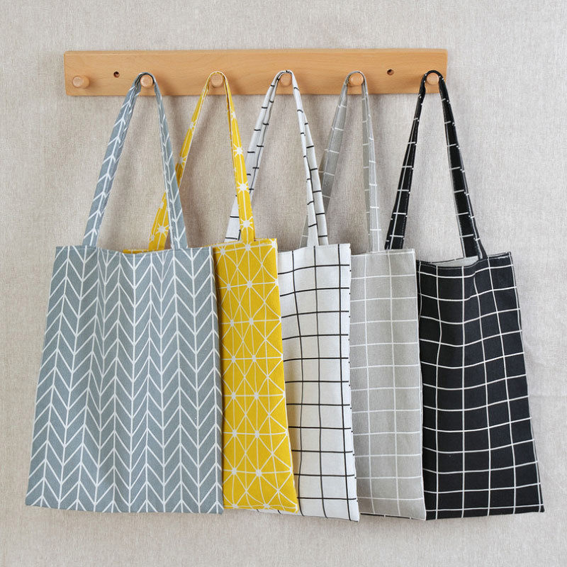 Reusable Cotton Linen Single Shoulder Bag Women Shopping Canvas Tote Check Plaid Female Flax Grocery Bag