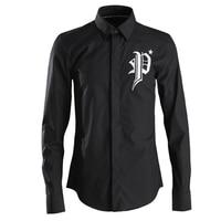2019 Hot Fix Rhinestone Eagle Print Men Shirts White Black Long Sleeve Slim Shirt Europe Fashion Casual Streetwear Solid Clothes