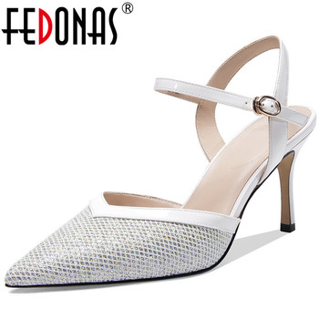 FEDONAS  Women Sandals Fresh And Elegant Cow Leather Pointed Toe Lace Up Cross-Tied High Heeled Spring Summer Prom Shoes Woman