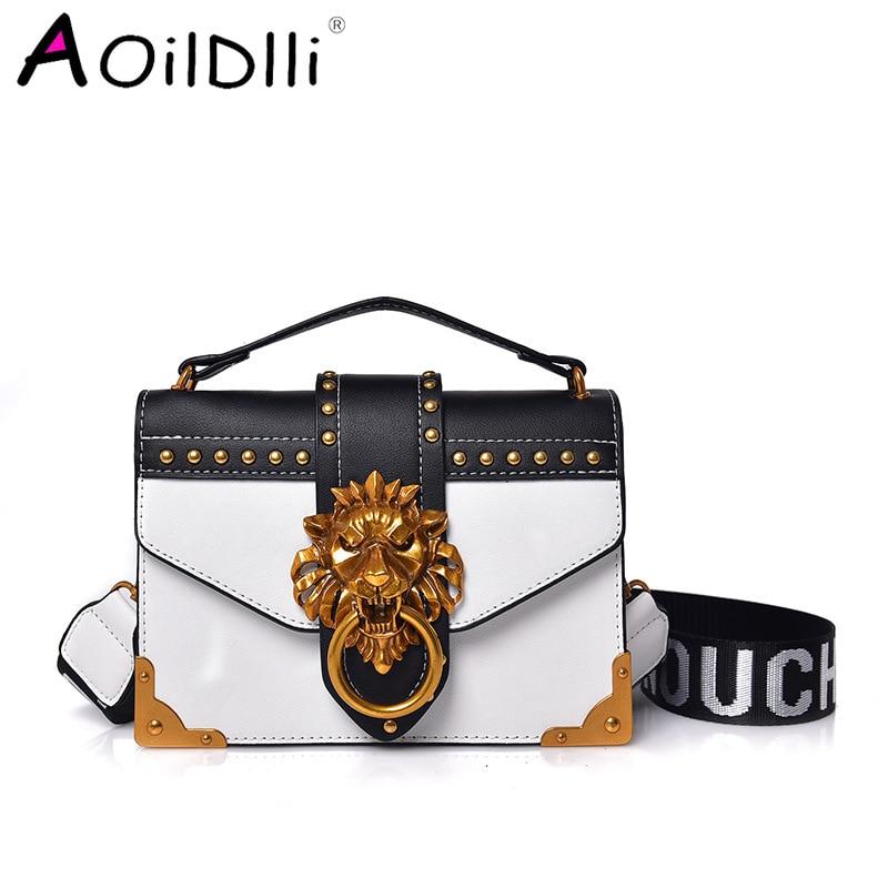 Fashion Pack Shoulder Bag Crossbody Package Metal Lion Head Mini Small Square Clutch Women Designer Wallet Handbags Bolsos Mujer