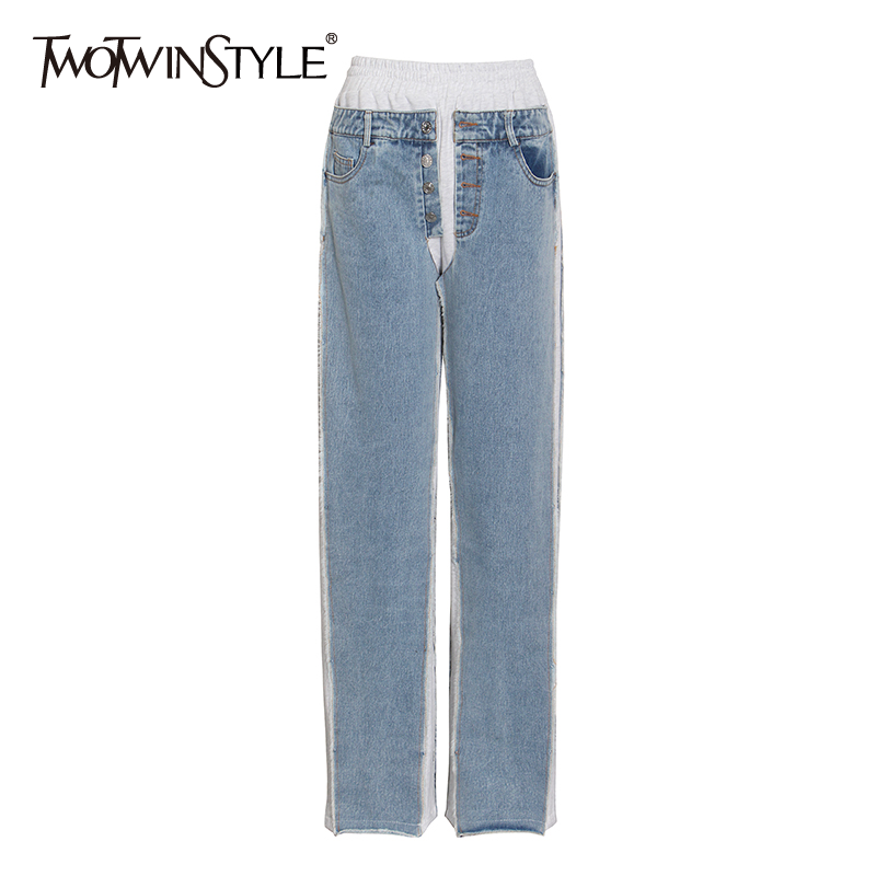 TWOTWINSTYLE Casual Patchwork Denim Pants For Women High Waist Loose Wide Leg Jeans Female 2020 Autumn Fashion New Tide Clothing