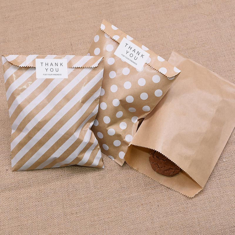 25/50pcs Round Dots Stripe Printing Gift Kraft Paper Bag Baking Biscuits Candy Packaging Bag For Wedding Birthday Party Supplies