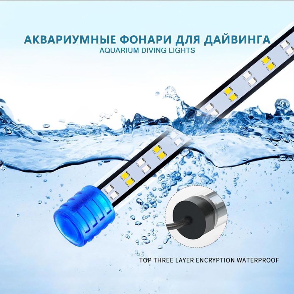 LED Aquarium Light Waterproof Fish Tank Light Aquatic Plant Light Submersible Underwater Clip Lamp Aquatic Decor