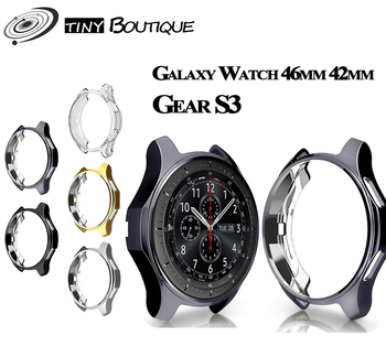 Case cover for samsung Galaxy Watch 46mm 42mm Gear S3 screen protector soft TPU plated All-Around protective cases shell frames protective cover for samsung gear s3 frontier case tpu plated all around protective bumper shell smartwatch r760 cover frame